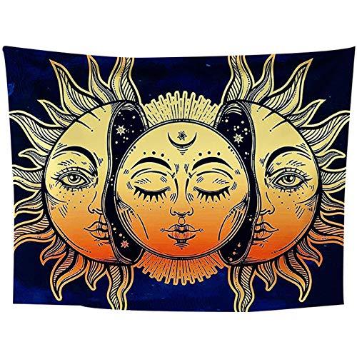 Sonne Und Mond Wandteppich, Goldene Und Blaue Wandteppiche/Psychedelic Mystic Mandala Wandteppich Wandbehang, Für Wohnzimmer Schlafzimmer Wohnkultur,150X250CM