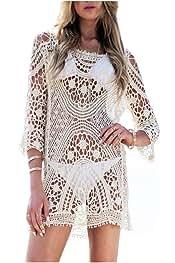 1d8b7a839cc Femme Robe de Plage Blanc Detelle Crochet Col V Manche Longue Mini Robe (Taille  Unique