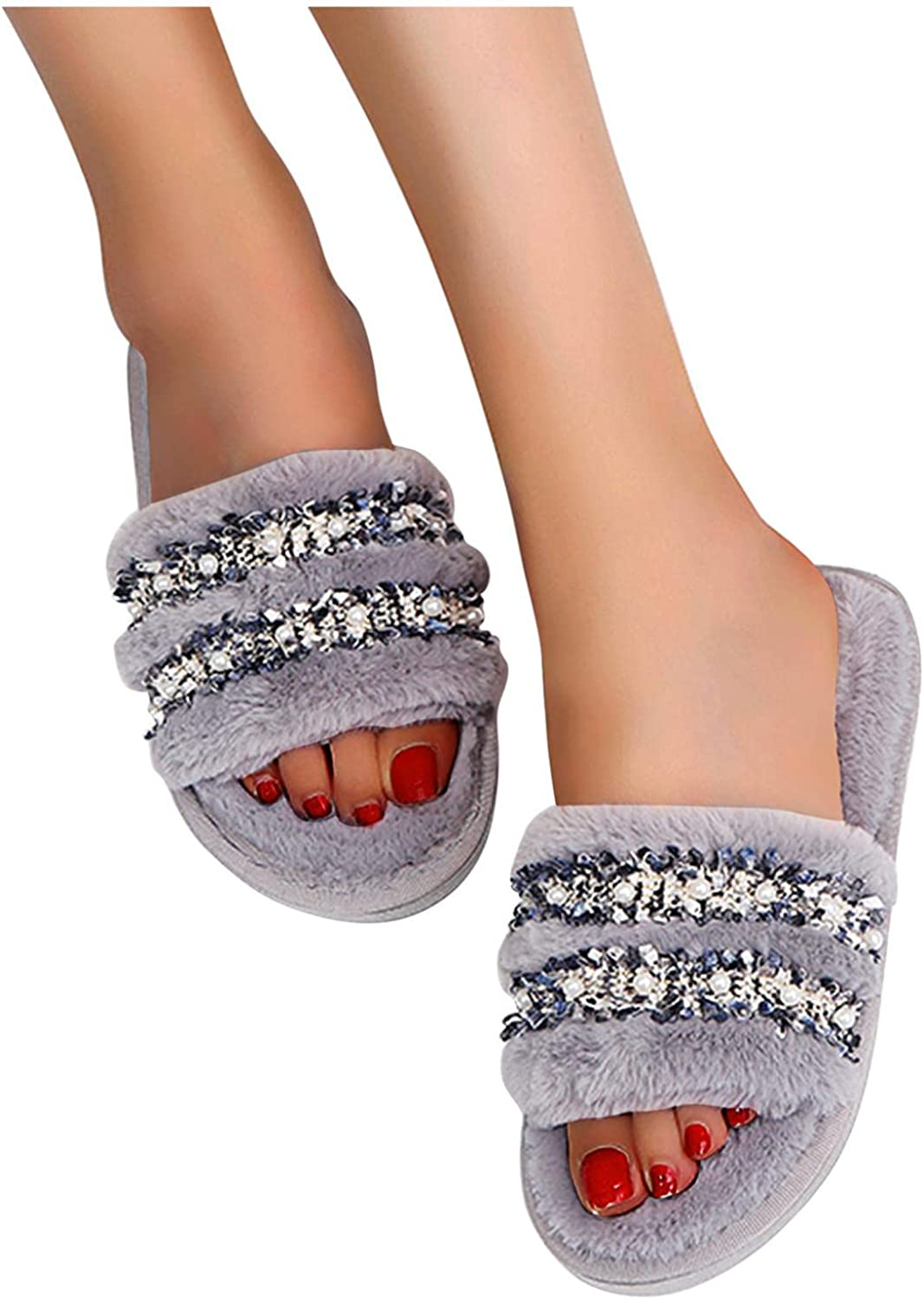 Gibobby Slippers for Women Women Memory Foam Slippers Fur Fuzzy Slippers Warm Casual House Slippers Indoor Outdoor Shoes