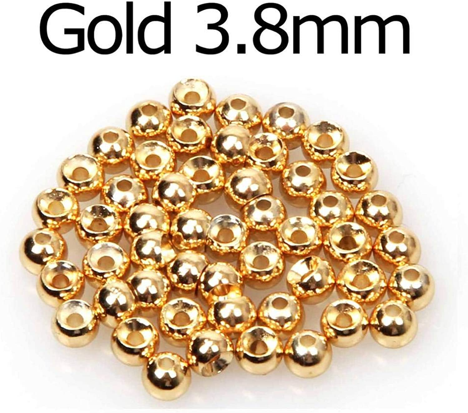 Generic Fly Fishing 50pcs   lot Fly Tying Tungsten Beads Fly Fishing Nymph Head Ball Beads gold Silver Copper Beads g3.8