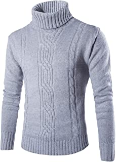 Mens Cable Knit Turtleneck Sweater Solid Color Slim Fit Warm Pullover Jumpers
