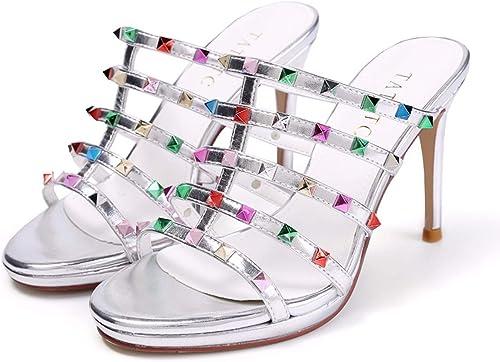 HBDLH Chaussures pour Femmes Summer Sexy 9Cm Super Talons Hauts Talons Rivets Tard Le Soir des Sandales des Orteils des Tongs.