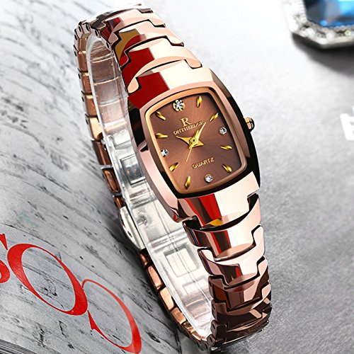 FENKOO Schöne Armbanduhren Wolfram Stahl Uhr Dekoration Damenuhr Uhr Quarzuhr mechanisches Armband (Color : 3)