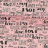 Dekostoff Love rosa Canvas - Preis gilt für 0,5 Meter