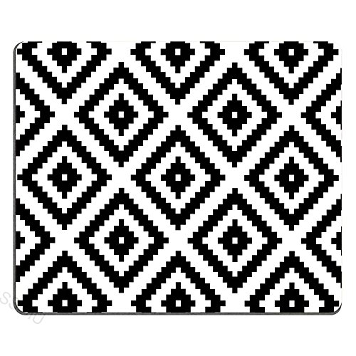 SSOIU Gaming Mouse Pad Custom,White and Black Series Geometry,Anti Slip Mouse Mat for Desktops, Computer, PC and Laptops, Customized Rectangle Mouse Pad for Office and Home