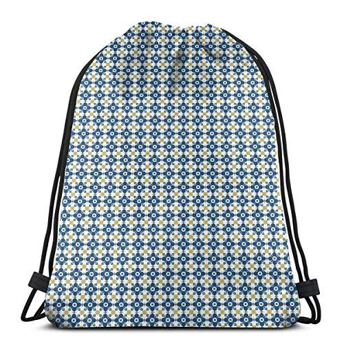 Jiger Drawstring Tote Bag gymnastiektas / opbergtas, traditioneel, Portugees, Azulejo / toilettas, hoogwaardig voor volwassenen en kinderen