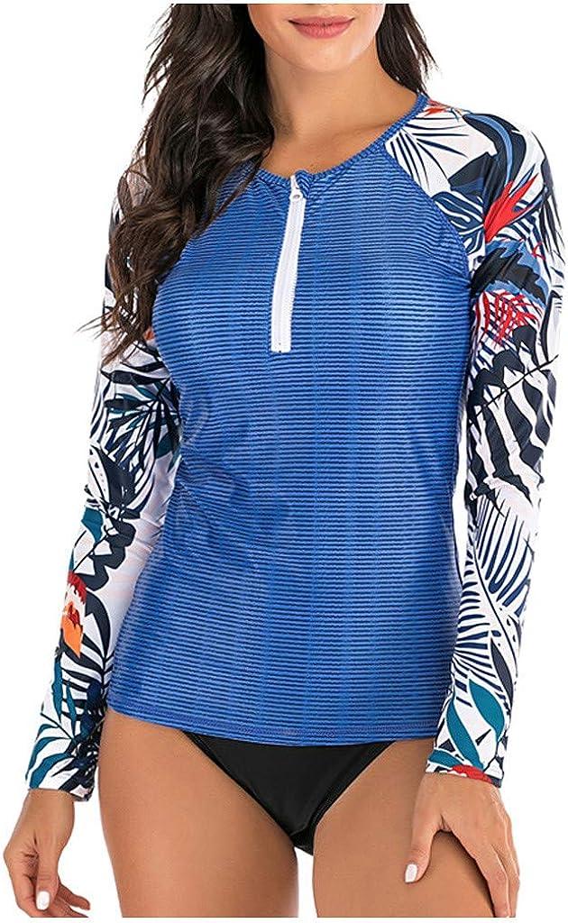 TOPBIGGER Women's Rashguard Swimsuit Zip Front Sun Protection Swim Shirt UPF 50+ Womens Wetsuit Swimsuit Top