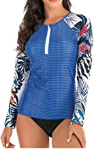 Atezch Women's Long Sleeve Rashguard Swim Shirts UV UPF 50, Two Piece Sun Protection Swimsuit Top + Panty Set, Patchwork B... photo