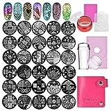 30 pcs Nail Art Plaques avec 2 Tampon 2 Grattoir Sac de Rangement Biutee Stamping Impression Modèle...