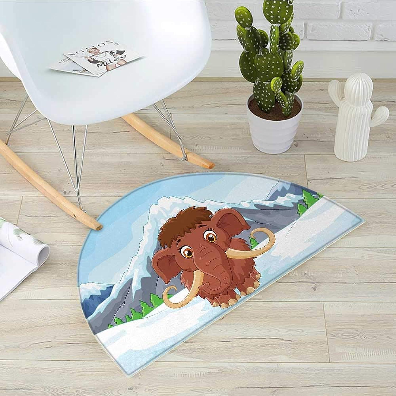 Cartoon Semicircle Doormat Baby Mammoth in Ice Snowy Mountain Winter Cheerful Animal Prehistoric Design Halfmoon doormats H 39.3  xD 59  Brown and bluee