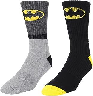 Batman Logo 2 Pair Men's Athletic Crew Socks Gray Stripe & Black shoe size 6-12