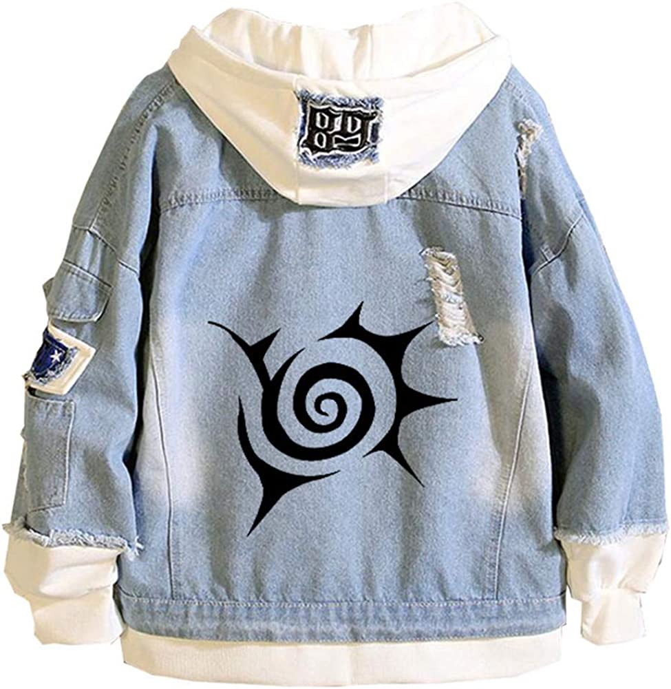 Gumstyle Anime The Seven Deadly Sins Hoodie Denim Jacket Cosplay Sweatshirt Button Down Jeans Coat 4 4XL