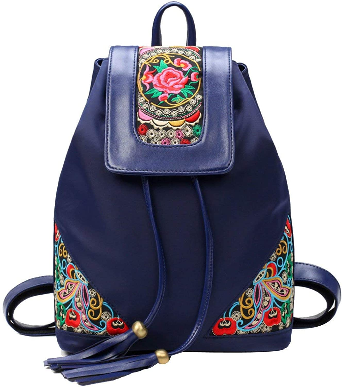 Business Laptop Backpack Notebook Rucksack Ladies Fashion Soft Leather Embroidery Backpack College School Rucksack Bag Black bluee (color   bluee, Size   Medium)