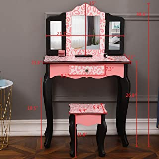 HELLOLAND Makeup Dressing Table with irror,Bedroom Vanity Set for Women Girls Kids (Red Leopard)