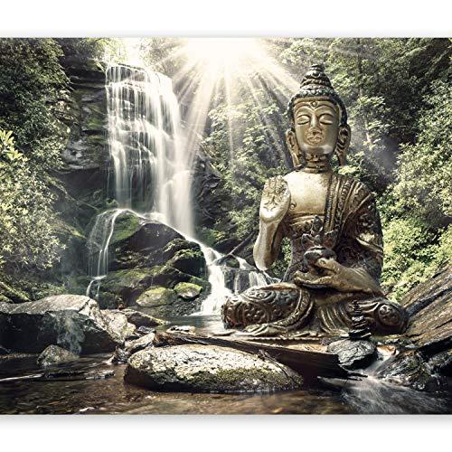murando - Fototapete 300x210 cm - Vlies Tapete - Moderne Wanddeko - Design Tapete - Wandtapete - Wand Dekoration - Natur Buddha Wald Wasserfall Asia h-C-0033-a-c