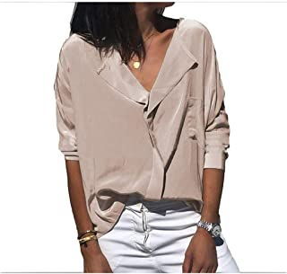 Howely Women's Loose Basic T Shirts Long Sleeve V Neck Casual Blouse Top