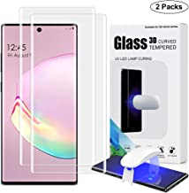 1st Guard [2 Pack] Galaxy Note 10 Plus Screen Protector, Fingerprint Reader Full 3D Curved Edge Coverage Tempered Glass Liquid HD Clear Case Friendly for Samsung Galaxy Note 10 Plus and Note 10+ 5G
