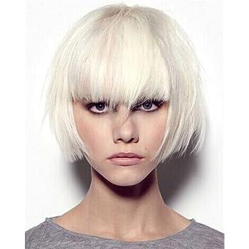 Elegante peluca melena corta, recta, color blanco de Falamka ...