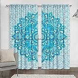 Sophia-Art Juego de 2 cortinas de mandala con diseño de flor de loto verde