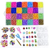 Rainbow Rubber Bands DIY Crafting Loom Set: 11,000 Rubber Loom Bands Kits 42 Unique Colors, 500 Clips, 210+ Beads, 85 ABC Beads to Bracelet Maker Making Kit for Kids, 46 Charms, 3 Backpack Hooks