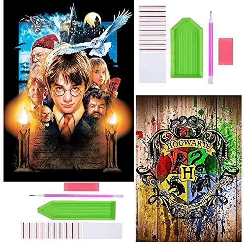 DIY 5D Diamond Painting Kit, Hilloly 2 Pcs 5D Harry Potter Diamond Painting, Kits de Pintura de Diamantes, para Niños, para Decoración de Pared para la Decoración de la pared del hogar
