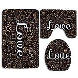 N\A Das Wort Liebe mit simpáticos iconos y corazón Juego de 3 alfombras, funda para asiento de inodoro, funda para la tapa de los cojines, de franela