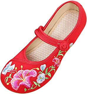 Inlefen Girl Embroidered Shoes Chinese Style Design Shoes Flat Round Head Shoes
