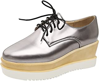 cf017bf0172 Charm Foot Women s Lace up Platform Oxford Wedges Shoes