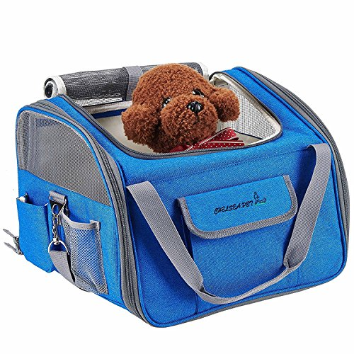 Transportin para perros Transportadora para gatos Bolso para transportar mascotas en coche, Azul Claro