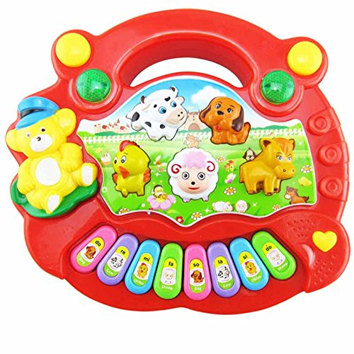 Percetey Baby Kind Smart Animal FarmE-Piano Musikalisches Spielzeug Early Education Lernspielzeug Geschenke Baby Kids Smart Animal Farm Electric Piano Music Toy English Early Educational Toys for Gift