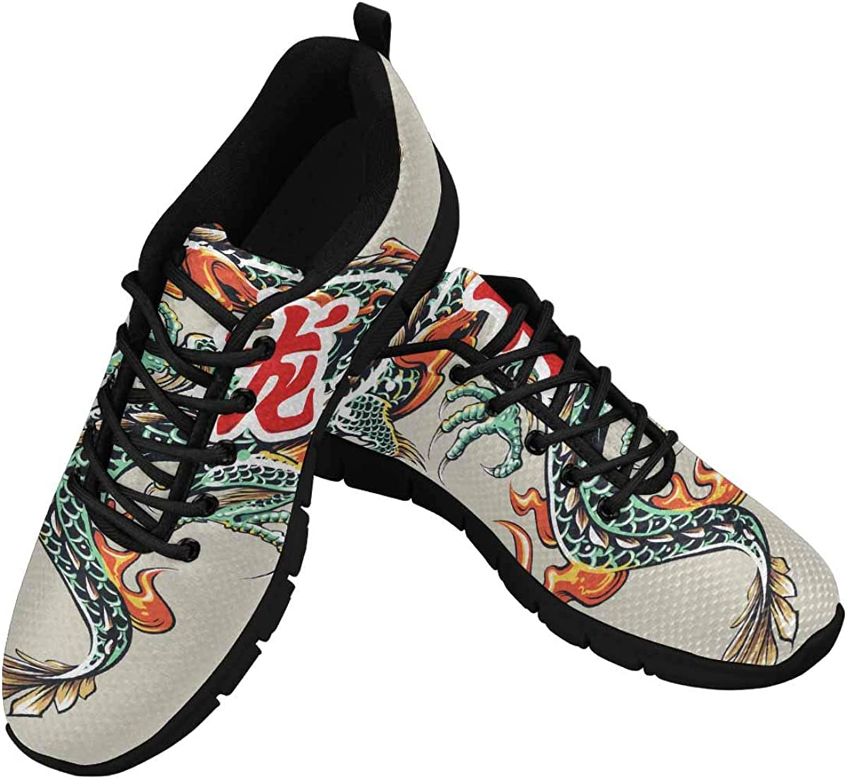 InterestPrint Dragon with Fire and Hieroglyph Women's Athletic Walking Shoes Comfort Mesh Non Slip