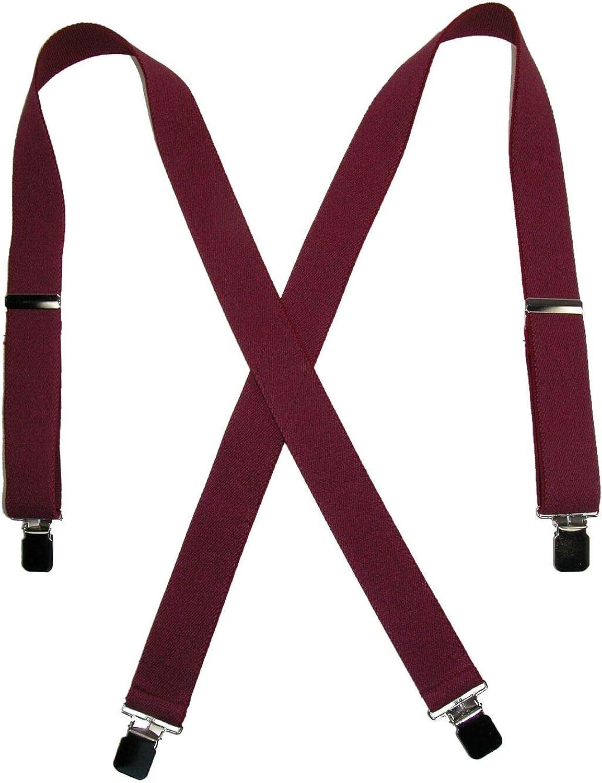 1 Pcs Men's Terry Casual Elastic Clip-End 1 1/2 Inch Suspenders (Burgundy)