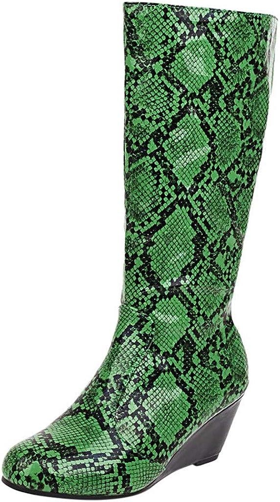 Mid Heel Genuine Free Shipping Knee-High Boot RQWIEN Ladies depot Nightclub Print Snakeskin