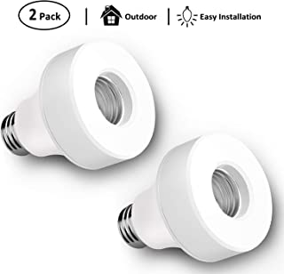 USHAWN Smart WiFi Bulb Socket, E26 / E27 LED Light Lamp Holder Plug, Bulb Adapter Base Compatible with Alexa and Google Assistant, No Hub Required, Remotely Control, Timing Function (2 Pack)