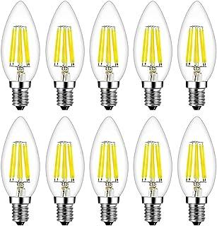 MENTA Bombillas Vela de Filamento Flame LED E14 6W equivalente a 60W, Blanco Frío 6500K, 600LM, C35 Pequeña Edison Screw (SES) Bombillas de Vela, Retro Vintage, No regulable, Vidrio, 10 Unidades