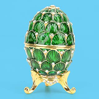 Zinc Alloy Easter Egg Box, Birthday Gift Jewelry Organizer, Home Decoration for Bracelet Necklace(Green)