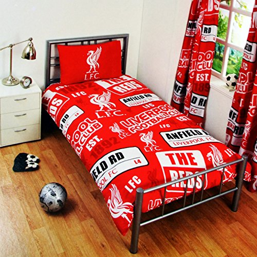 Liverpool FC Childrens/Kids Official Patch Football Crest Duvet Set (Double) (Red)