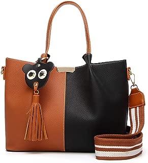 Sturdy Handbag Women's Fashion Color Matching PU (Polyurethane) Leather Large Capacity Shoulder Handbag Large Capacity (Color : Brown)