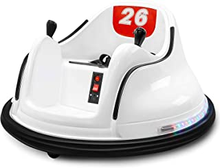 DIY Race 6V Kids Toy Electric Ride On Bumper Car Vehicle Remote Control 360 Spin (White)