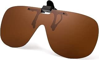 JM Polarized Clip on Sunglasses Frameless Flip Up One Piece Shield Lens for Prescription Glasses