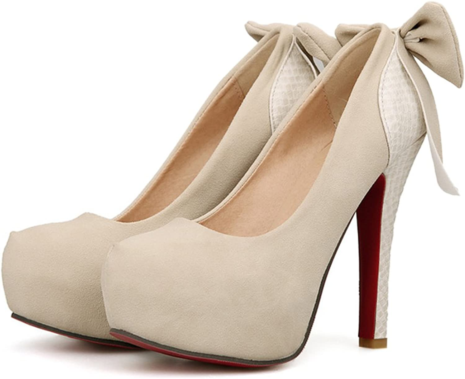 Plus Size High Heel Women Thin shoes Night Club Bowknot beige 39