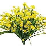 narcisos artificiales, flores falsas, 4 paquetes de plantas de follaje de plantas de follaje de imitación verde resistente a los rayos UV amarillo