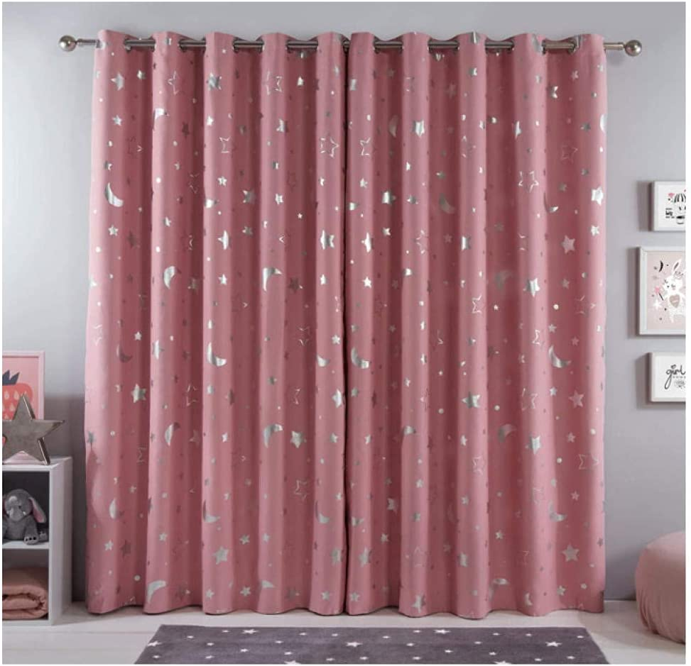 Bedroom Curtains Fees free W 84 x L Blackout Pink Safety and trust Star in Moon