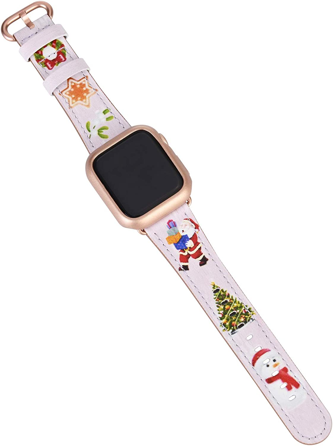 JSGJMY Leather Band Compatible with Apple Watch 38mm 40mm 42mm 44mm Women Men Strap for iWatch SE Series 6 5 4 3 2 1(Pink Christmas Pattern,38mm/40mm S/M)