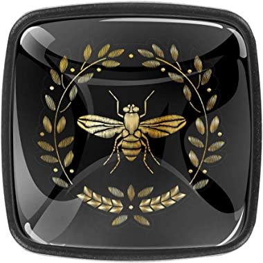 Square Cabinet Knobs Embroidered Bee Kitchen Pulls Cabinet Hardware Cupboard Drawer Knobs,Pack of 4