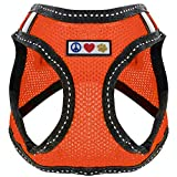 Pawtitas Pet Reflective Mesh Dog Harness, Step in or Vest Harness, Comfort Control, Training Walking of Your Puppy/Dog Medium M Orange Dog Harness