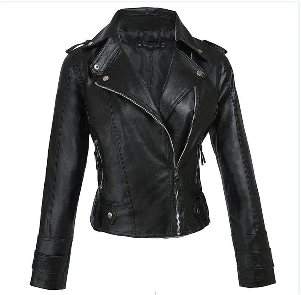 XZYP Women's Korean Version of The Short Slim Pu Motorcycle Leather Jacket Jacket Women,XXL