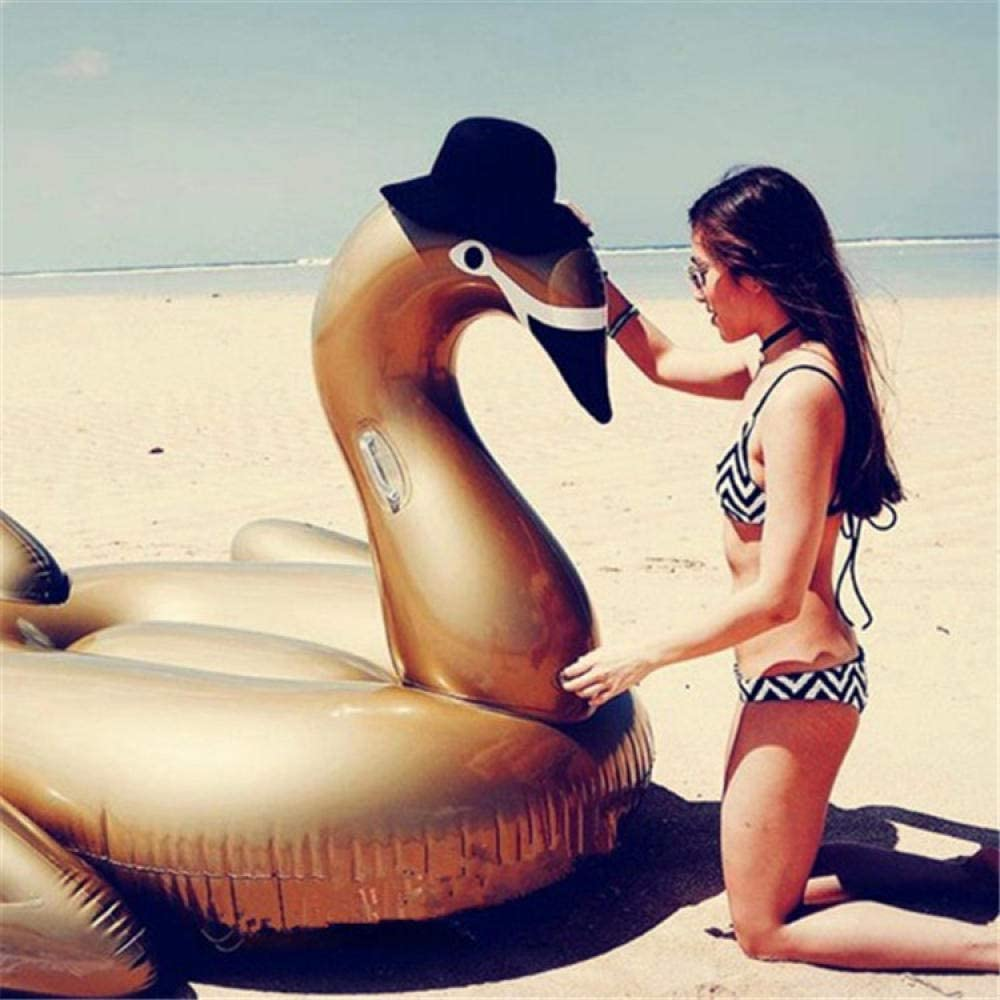 Svvsgf Inflables de Piscina para Adultos, un Anillo de natación de Fila Flotante de Cisne Inflable de Agua 190 cm Pico Puntiagudo Montaje de Cisne Dorado