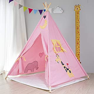Kids Foldable Teepee Tent With Bottom Mat Playhouse Indian Style - 4 Wooden Poles Canvas With Mat , Indoor & Outdoor ,Whit...