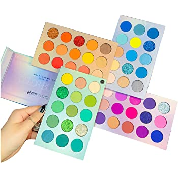 Beauty Glazed Color Board Eyeshadow Palette, Profession 60 Colors Makeup Palette Mattes Shimmers Naked Smokey Glitter Cream Colorful Powder Blendable Long Lasting Waterproof Eye Shadow Palette